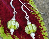Lime Green & Lemon Yellow Bubble Lampwork Earrings with Pearls on Sterling Silver Ear WIres