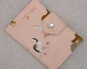 Mini Organizer Portfolio - Horses on Blush Peach with Pen & Notepad