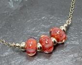Sunset Orange Boro Lampwork Art Glass Adjustable Gold Chain Necklace