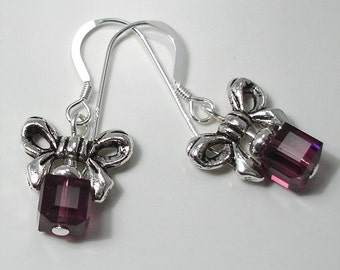 Amethyst Crystal Cube and Bow Earrings on Sterling Silver Ear Wires