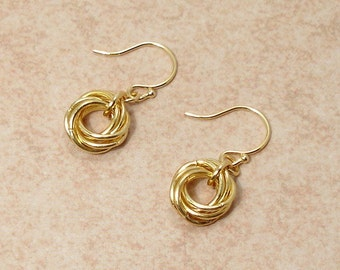 Golden Love Knot Chainmaille Earrings