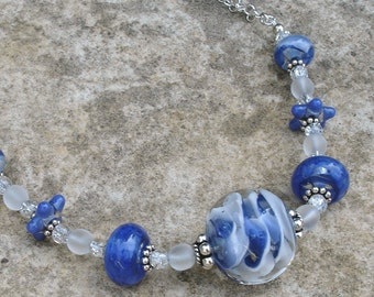 Blue White Swirl Boro Lampwork Art Glass and Sterling Silver Adjustable Necklace
