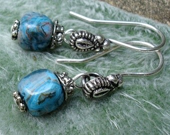 Turquoise Crazy Lace Agate Cube Earrings