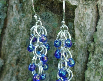 Shaggy Loops Chainmaille Earrings in Purple Blue and Silver