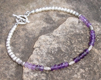 Shaded Amethyst and Hill Tribe Silver Bracelet