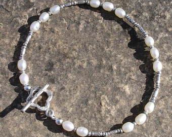 Cultured Pearl and Hill Tribe Silver Bracelet