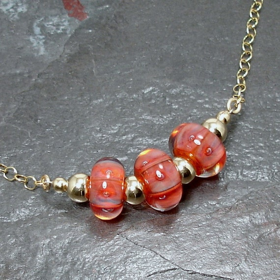 Sunset Orange Boro Lampwork Art Glass Adjustable Gold Chain Necklace