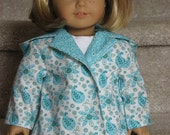 Springtime Paisley in TEAL Coat for American Girl / 18 inch dolls