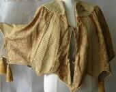 Vintage Brocade Tassel Cape Shawl VICTORIANA Gold Small Medium Large Jacket