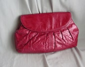 Vintage Metallic Leather Shoulder Bag Crossbody  Clutch Purse Convertible 80s Raspberry