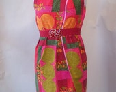 Funky 60s Wrap Dress size 6 8 10 Sleeveless Flower Power Pop Mod Small Medium Abstract Floral Red Yellow Green