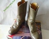 Vintage JUSTIN Roper Ankle Boots / Womens Size 9 Eur 40 UK 6 .5 / All Leather  Olive Green /  Mens sz 7.5 D Cowboy Western Boot
