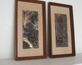 MCM Framed Wall Plaques Decor Oriental Bronzed Pair Bas Relief  Sculpture 50s Tiles Atomic Hollywood Regency
