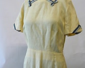 Vintage 50s Linen Day Dress 6 8 10 Small Med Yellow Grey Fitted Elise Goupil