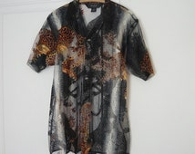 Vintage SHEER Tattoo Shirt KUNG FU 1980s Never Worn Unisex Beach Wear Mens size 44 Animal Print