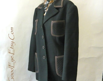 Vintage Italian Wool Blazer Jacket size 4 6 8 ROUGE a' LEVRES  Fitted Military Details Pockets Eur 38/40 PERUGIA Italy