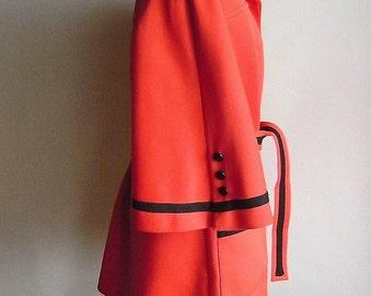 Vintage Mod 1970s Red Lilli Ann Coat / medium  size 8 10 12 / Bell Sleeve Jacket 1960s Belt Pockets size 8 10 12