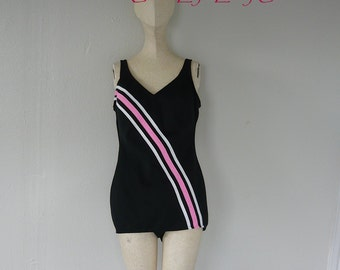 Vintage 60s CABANA Swimsuit size 8 10 One Piece Skirted Preppy  Racing Stripe Black Pink Swim Suit