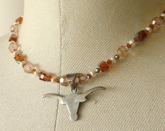 Vintage Sterling Silver Longhorn Choker Necklace Chrystals Pearl Beads 1980s Texas Bull Horns Pendant