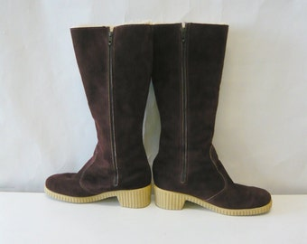 Vintage Brown Suede Snow Boots size 8 M Eur 38 .5 UK 5 .5 Leather Fleece WINTER Flat Knee Riding USA 1980s