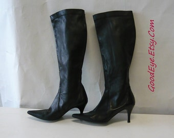 Vintage Stretch Leather High Heel Boots Size 7 B Eur 37 .5 UK 4 .5 Black Skinny Leg Pointed Toe / Cole HAAN  Italy
