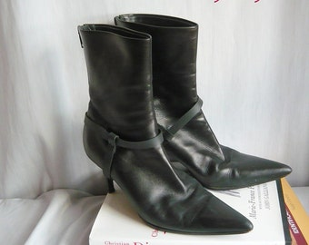 Vintage HELMUT LANG Leather Ankle Boots size 6 M Eur 36 UK 3 .5 Italy  Black Harness Stiletto High Heel Shoes