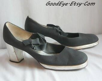 70s Vintage Mary Jane PLATFORM Shoes 8.5 Narrow Black Silver Young Jr Neiman Marcus Eur 39 UK 6