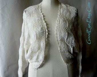 Vintage SHEER Crochet and Crinoline Sweater / size medium White Cardigan Top Shrug / 1960s long sleeve Beaded Rosettes /  sz 8 10 12 14