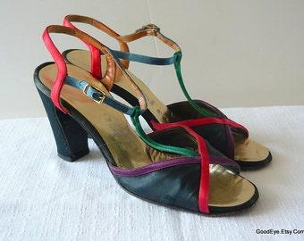 Vintage Deliso Satin T-Strap Shoes size 5 .5 M Eu 35. 5   Black Sandals High Heels Color Block 1970s