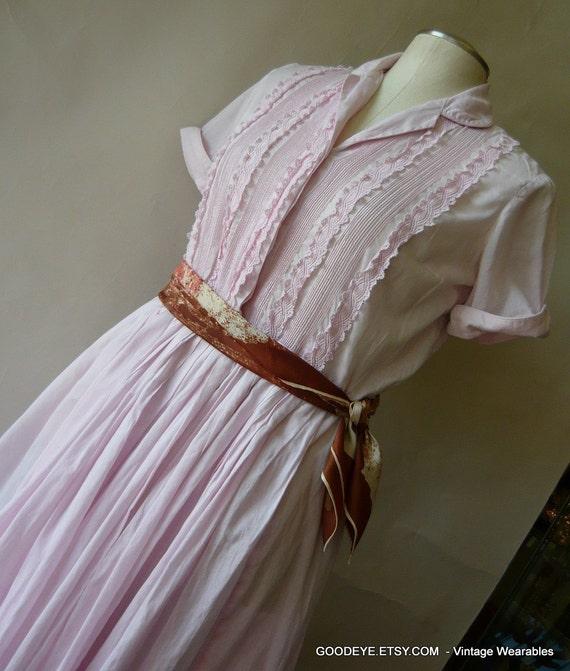 Vintage 50s Shirtwaist Dress MR EDDIE Pink  Housewife Waist 33 inch size 8 10 12