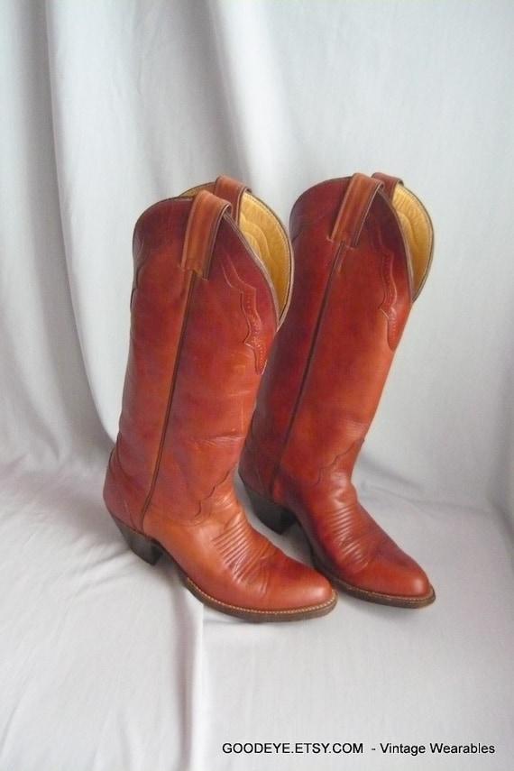 Vintage Skinny Leg Justin Western Boots Womens Cowboy Size 5 M