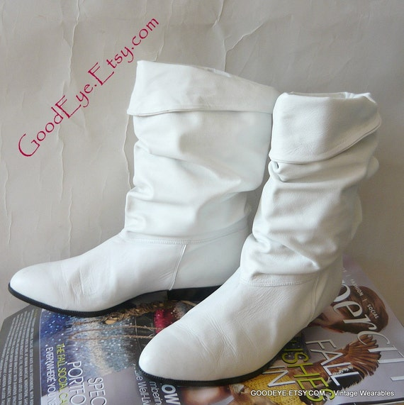 Vintage Slouch Cuff Ankle Boots Pixie Cool White Size 9 By