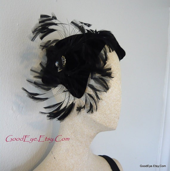 50s Cocktail Hat  Feathered Teaser  Black Velvet Clamper with Rhinestones