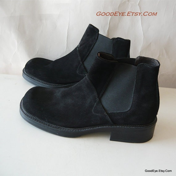 Italian Suede Ankle Boots 9 .5  Eur 42  MENS Black NEVER Worn Womens size 10 .5