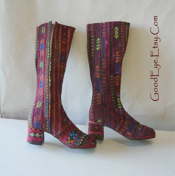 60s Embroidered Tapestry Boots sz 5 6 Eu 35 UK 3  Rug Hippie GoGo Vintage Platforms OOAK
