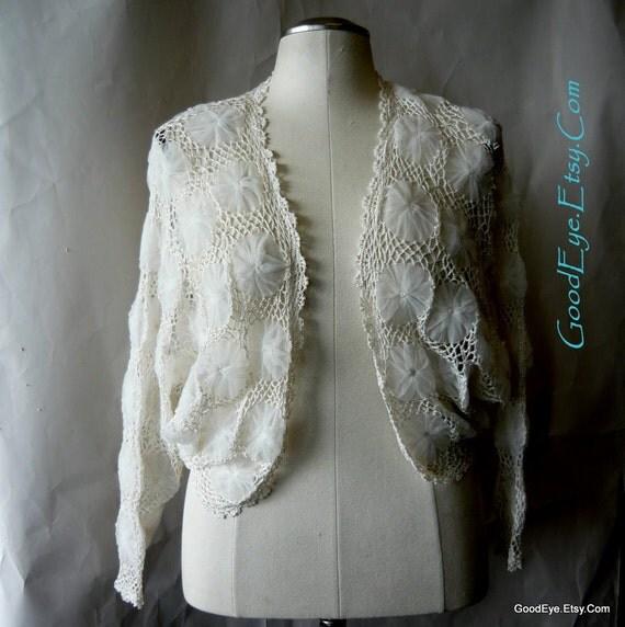 Vintage SHEER Lace Crinoline Sweater size medium White Crochet Top Cardigan Shrug medium