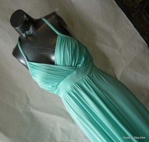 Grecian Goddess Maxi Dress  Small 4 6 8 Aqua Pastel Torquoise Slinky Prom Evening