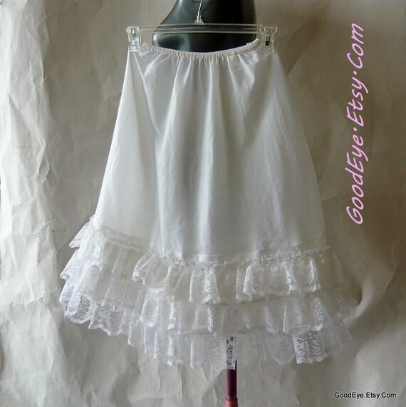 60s Nylon Petticoat Whie Tier FLUFF Sheer small medium