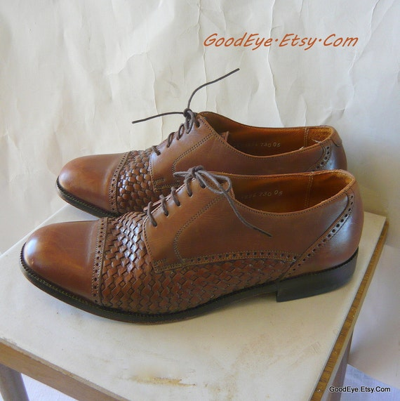 Vintage Woven Leather Oxfords Shoes Men 8 .5 D Women 10 M Florsheim UNISEX Eur 42