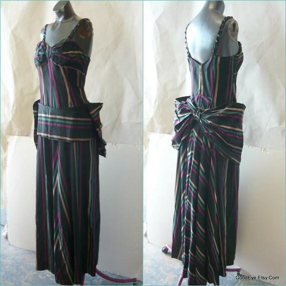 Vintage 30s Taffeta Evening Dress sz 4 6 8 Maxi Chevron Stripe BIG BOW / Full Skirt  /Unusual Cut