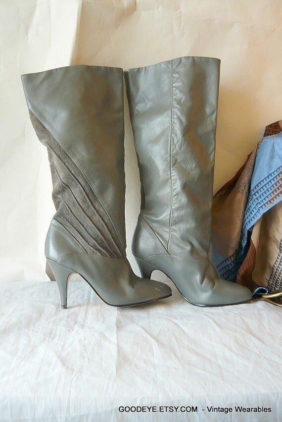 Vintage 80s High Heel Boots Grey Knee Highs Size 6 5 B Euro 37