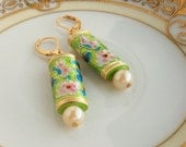 Spring Green Garden - Cloisonne w Vintage Pearl Leverback original design earrings