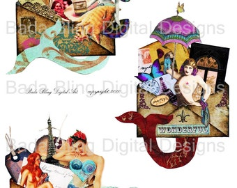 mermaid  collage sheets,  Mermaids On Vacation, altered art...INSTANT Digital Download at Checkout, mermaids, mermaid art