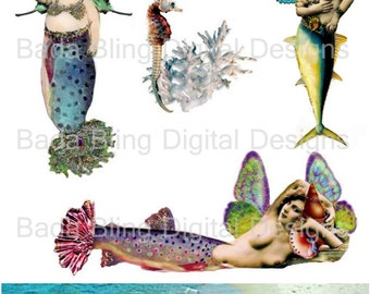 Party On Mermaids sheet 1, a digital collage sheet, oaltered mermaids, INSTANT  Download at Checkout, paperdolls, mermaid atcs,collage