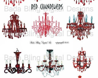 Red Chandeliers,  digital collage sheets  INSTANT DOWNLOAD  Perfect for Christmas cards, atcs and tags