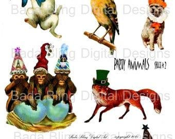 Party Animals sheet 2, altered art digital collage sheets, INSTANT  Digital Download at Checkout