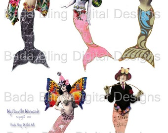 My Favorite Mermaids, altered art, mermaid collage sheets,  INSTANT Digital Download at Checkout,mermaids, fairies, mermaid art,collage,atcs