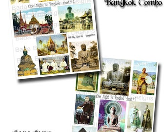 One Night In Bangkok Combo, 2 digital collage sheets  INSTANT DOWNLOAD at Checkout