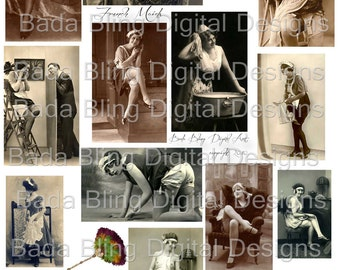 French Maids,   vintage french photos, digital collage sheet as an INSTANT DOWNLOAD at Checkout