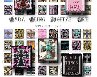 scrabble tile collage sheets, Crosses for Cowgirls,  INSTANT  Digital Download at Checkout, scrabble tile pendants